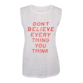 RACHEL Rachel Roy Women's Trendy Plus Size Graphic Muscle T-Shirt (1X, White) - White - 1x