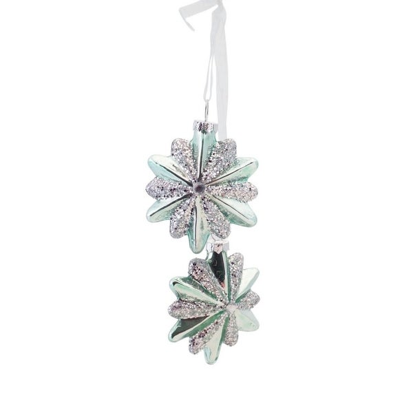 "13.25"" Silent Luxury Soft Green Glittered Glass Snowflake Bundle Drop Christmas Ornament"
