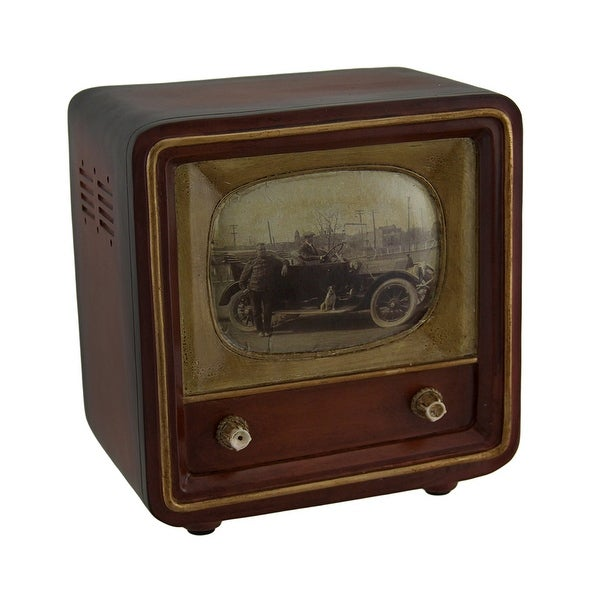 Brown Vintage Finish Square Retro Television Coin Bank 6 Inch - 6 X 5.75 X 4 inches