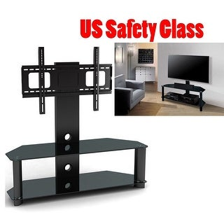 Link to 2xhome NEW - Modern Universal Integrated Heavy Duty TV Monitor Stand Mount Featuring Tempered Glass Shelves Similar Items in TV Mounts & Stands