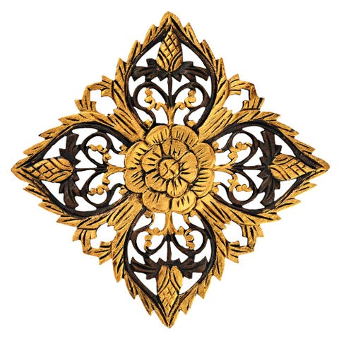 Handmade Bright in Gold Elegant Blossom Floral Carved Teak Wood Wall Art (Thailand) - Gold-Brown