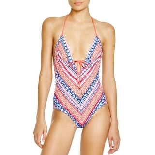 Shoshanna Womens Printed Halter One-Piece Swimsuit