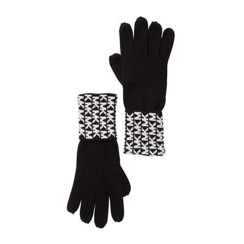 Michael Kors Women's Gloves Black White Cuffed Signature Knit One Size