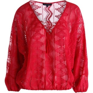 Sanctuary Womens Lace Embroidered Pullover Top