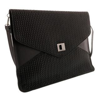 HS1154 NR FULVIA Black Leather Clutch/Shoulder Bag