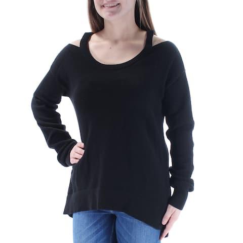 MICHAEL KORS Womens Black Cut Out Textured Long Sleeve Jewel Neck Sweater Size: XS