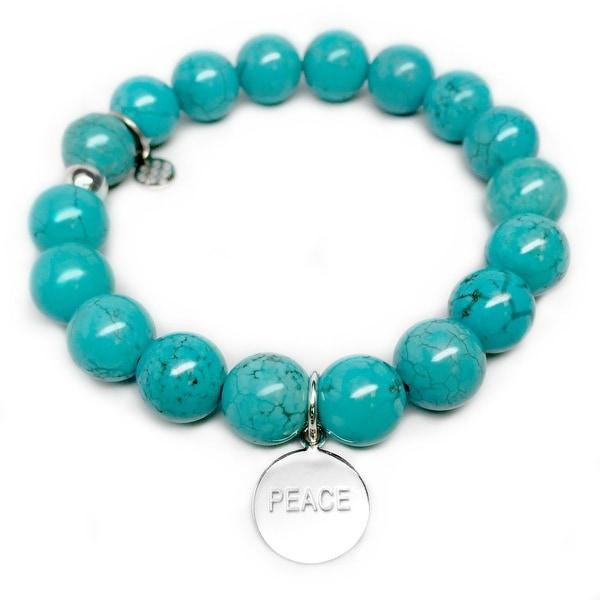 "Turquoise Magnesite Peace Silver Charm Eternal 7"" Bracelet"
