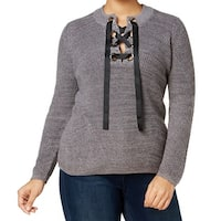 INC Heather Gray Women's Size 1X Plus Lace-Up-Neck Pullover Sweater