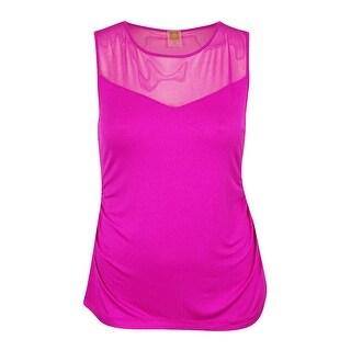 Anne Klein Women's Sleeveless Ruched Top - cassis - xL