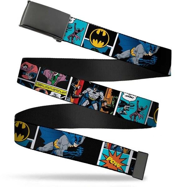 Blank Black Buckle Batman Comic Strip W Bat Signal Webbing Web Belt