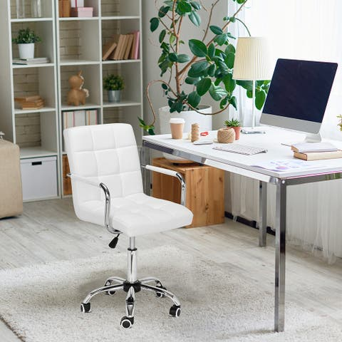 9 Grid Bar Chair Office Chair with Armrest White