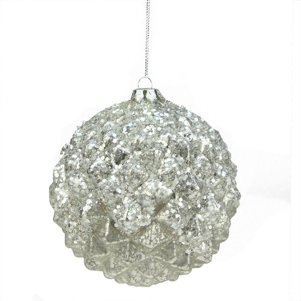 "6"" Winter Light Silver Glittered Faceted Mercury Glass Ball Christmas Ornament"