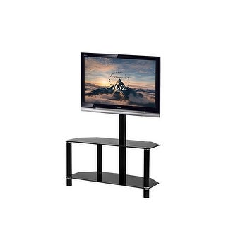 VECELO TV Entertainment Center, TV Stand with Mount and Glass Shelves for Storage , Fits 32, 36, 37, 40, 42, 47, 48, 49, 50, 55,