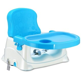 Costway Comfort Folding Booster Seat 3 Height Adjustments Baby Toddlers With Safety Belt - Blue
