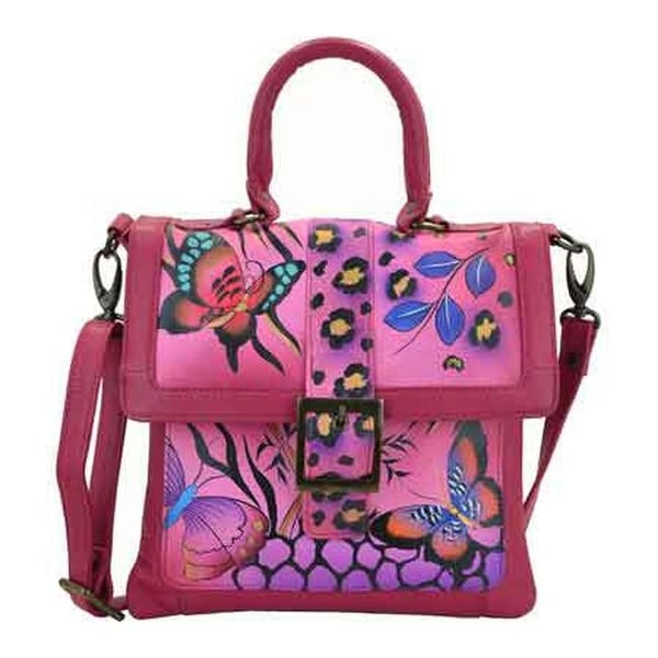 ANNA by Anuschka Women's Hand Painted Flap Saddle Bag 8074 Animal Butterfly Pink - us women's one size (size none)