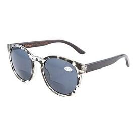 Eyekepper Spring Hinges Wood Temples Round Bifocal Sunglasses Tortoise +2.0