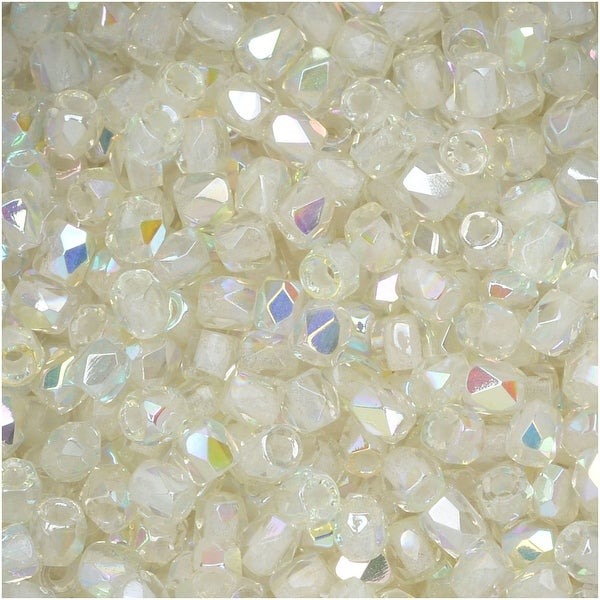 True2 Czech Fire Polished Glass, Faceted Round 2mm, 50 Pieces, Crystal Green Rainbow