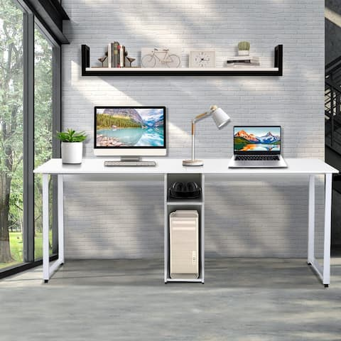 TiramisuBest Large Double Workstation 2-Person Writing Desk in Office