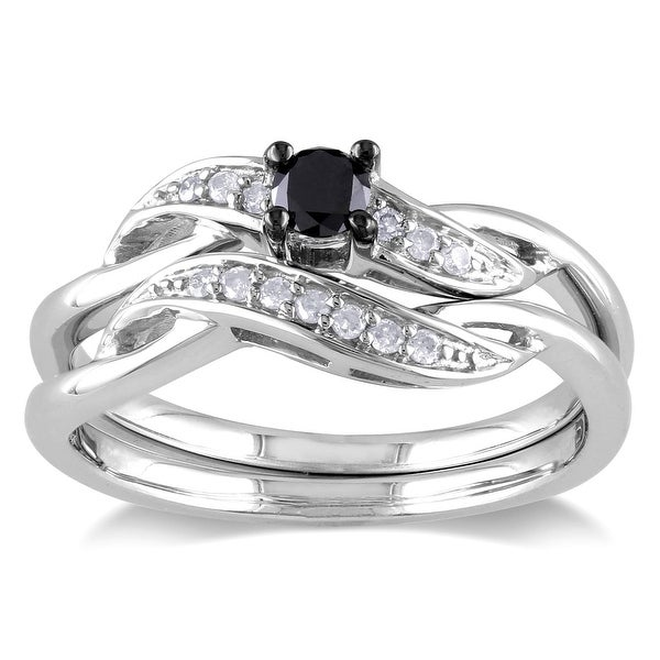 Miadora Sterling Silver 1/4ct TDW Black and White Diamond Crossover Bridal Ring Set. Opens flyout.