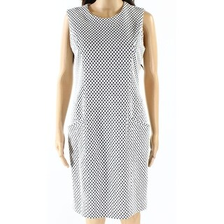Karl Lagerfeld NEW White Black Women's Size 8 Ponte Sheath Dress