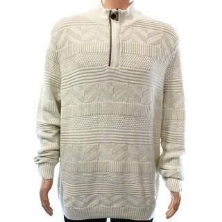 Tasso Elba NEW Beige Mens Size Large L Mixed Stitch Quarter Zip Sweater