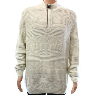 Tasso Elba NEW White Ivory Mens Size 2XL 1/2 Mixed-Stitched Zip Sweater