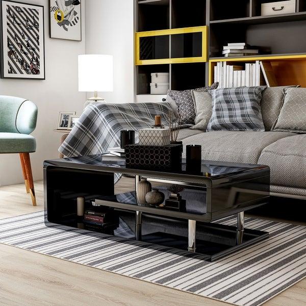 Furniture of America Inomata Modern Geometric High Gloss Coffee Table. Opens flyout.