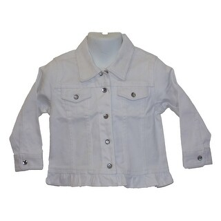 Baby Girls Stretch Twill / Ruffle Bottom White Jacket With Crystal Buttons 6-24M