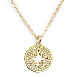 Julieta Jewelry Sunburst Cutout Plate CZ Charm Necklace