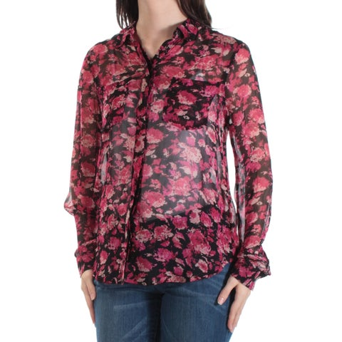 LUCKY BRAND Womens Red Sheer Floral Cuffed Collared Button Up Top Size: S