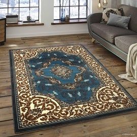 "Allstar Light Blue Woven High Quality High Density Double Shot Drop-Stitch Carving (5' 2"" x 7' 2"")"