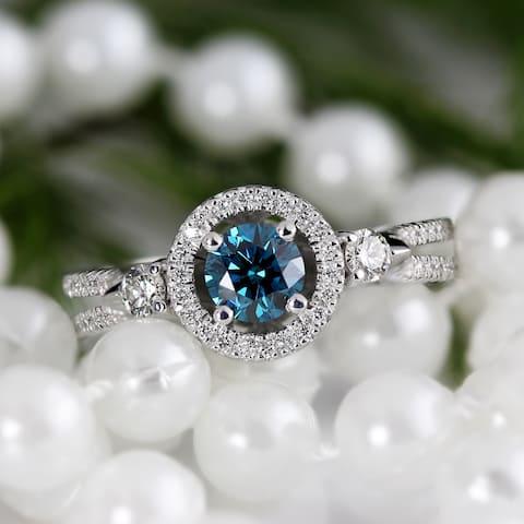 Auriya 14k Gold 1 Carat TW Contemporary Halo Blue Diamond Engagement Ring