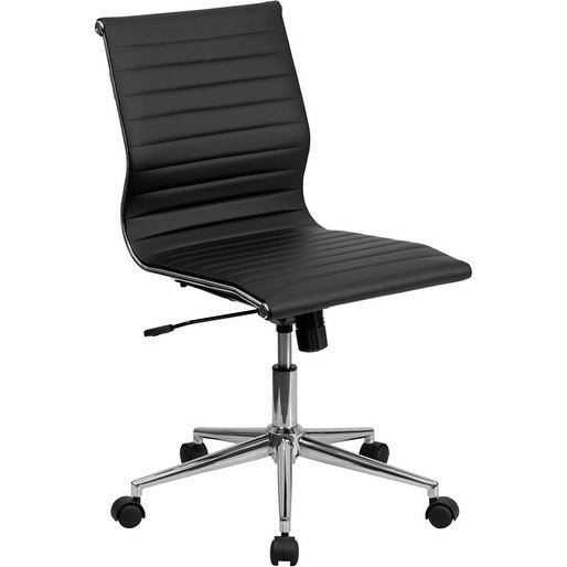 Silkeborg Mid-Back Armless Black Ribbed Leather Swivel Conference Chair