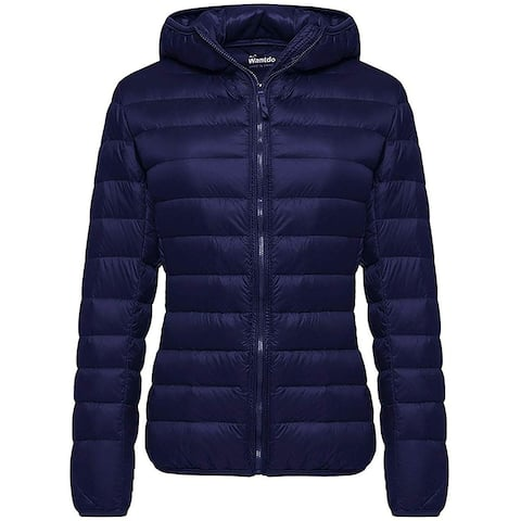 Wantdo Womens Jacket Navy Blue Size Large L Hooded Full Zip Puffer