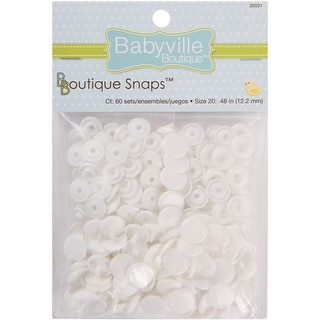 Babyville Boutique Snaps Size 20 60/Pkg-White - White