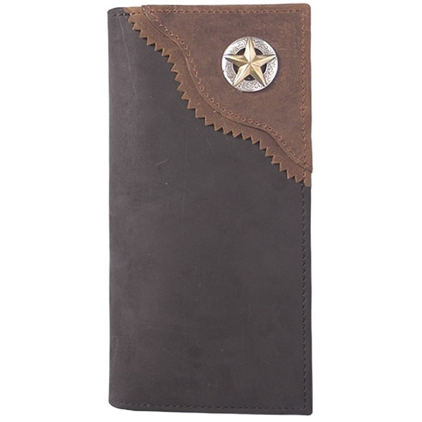 3D Western Wallet Men Leather Rodeo Overlay Star Black - One size