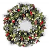 "24"" Crestwood(R) Spruce Wreath with Battery Operated Warm White LED Lights - green"