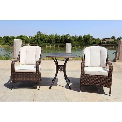 Moda 3-Piece Alum Casting Outdoor Patio Dining Set Rattan Chairs