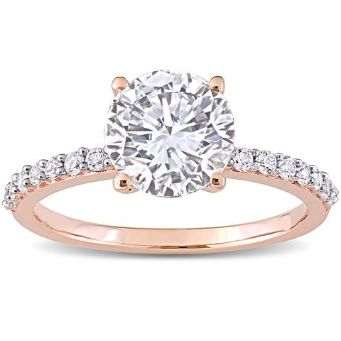 Miadora 10k Rose Gold 2 3/4ct TGW Created White Sapphire Solitaire Engagement Ring
