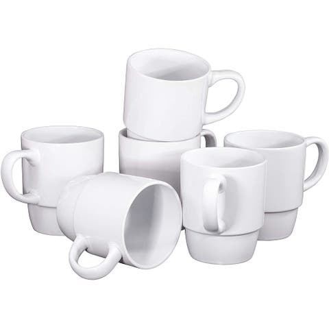 Ceramic Stacking Coffee Mug Tea Cup Dishwasher Safe Set of 6 - Large 18 Ounce