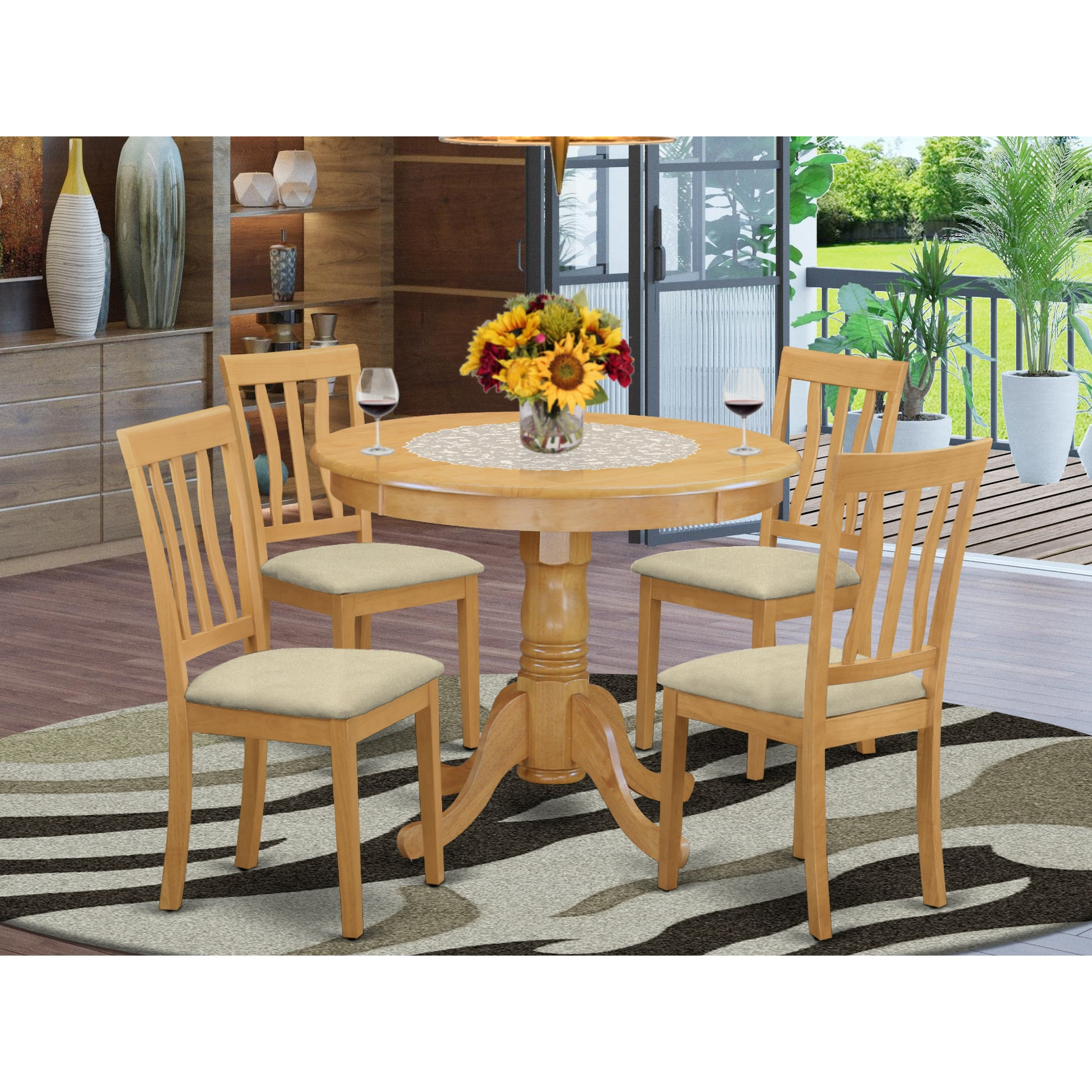 Picture of: Oak Small Kitchen Table And 4 Chairs Dining Set On Sale Overstock 10201204 Faux