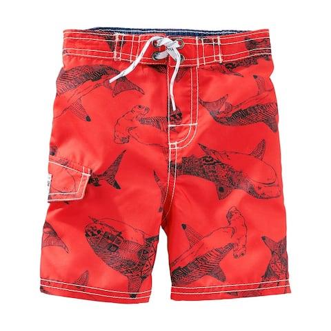 OshKosh B'gosh Baby Boys' Shark Print Swim Trunks, Red, 12 Months