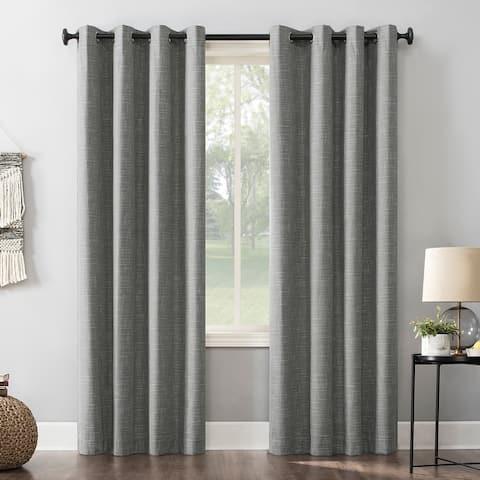Sun Zero Kline Burlap Weave Thermal Extreme Total Blackout Grommet Curtain Panel, Single Panel