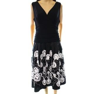 SL Fashions NEW Black White Women's Size 12 Sheath Surplice Dress