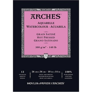 "12 Sheets - Arches Watercolor Hot Pressed Paper Pad 10""X14"" 140# 12 Shee"