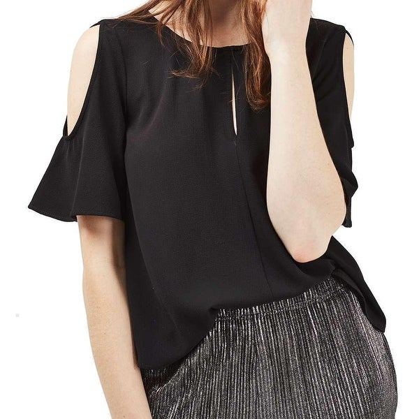 be06af7c25b3a5 Shop TopShop NEW Black Women s Size UK 10 US 6 Bell-Sleeves Keyhole Blouse  - Free Shipping On Orders Over  45 - Overstock - 20869368