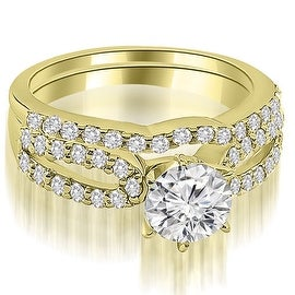 1.39 cttw. 14K Yellow Gold Exquisite Split Shank Round Diamond Bridal Set