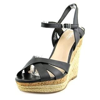 Charles By Charles David Astro Jute Women Open Toe Leather Black Wedge Sandal