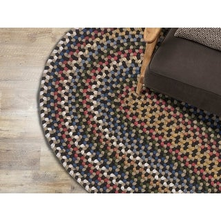 Link to Colonial Mills Wayland Rustic Farmhouse Braided Multicolor Oval Rug Similar Items in Classic Rugs