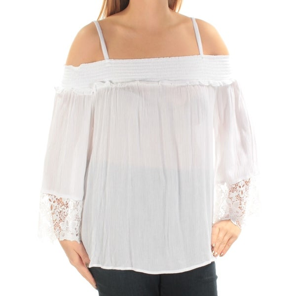 3f06835163872 Shop INC Womens White Cut Out Lace Spaghetti Strap Off Shoulder Top Size   XXL - Free Shipping On Orders Over  45 - Overstock - 23455493